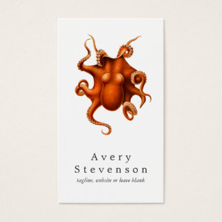 Vintage Red Octopus Marine Biology Nautical 2 Business Card