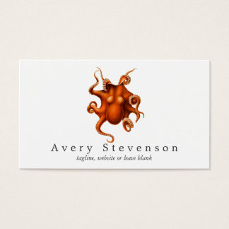 Vintage Red Octopus Marine Biology Nautical Business Card
