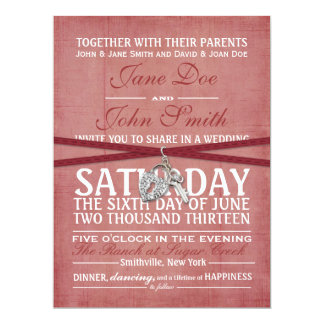 Vintage Red Paper Wedding Invitation