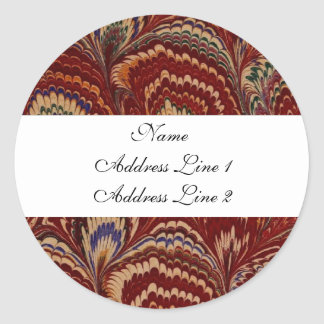 Vintage Red Peacock Address Labels Classic Round Sticker