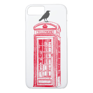 Vintage Red Phone Booth Raven iPhone 7 Case