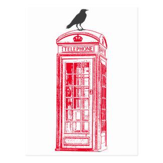 Vintage Red Phone Booth & Raven Postcard