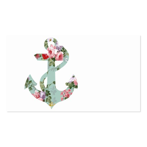 Vintage Red Pink Green Floral Pattern Anchor Business Card Template