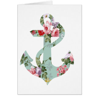 Vintage Red Pink Green Floral Pattern Anchor Card