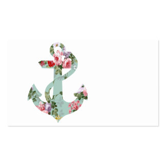 Vintage Red Pink Green Floral Pattern Anchor Pack Of Standard Business Cards