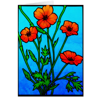 Vintage Red Poppies Card