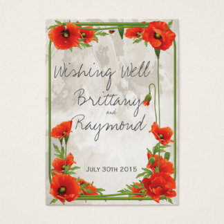 VINTAGE RED POPPIES WISHING WELL GIFT CARD INSERT