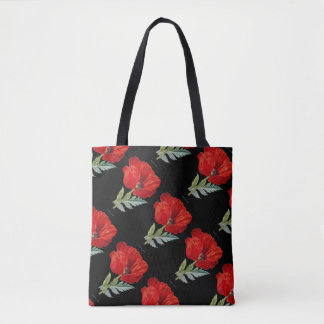 Vintage Red Poppy Flower All-Over-Print Tote Bag