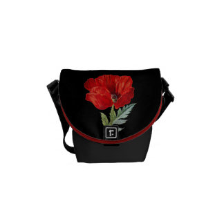 Vintage Red Poppy Flower Graphic Messenger Bag