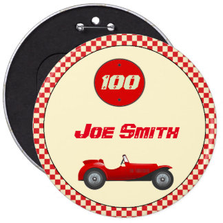 Vintage red race car 6 inch round button