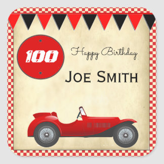 Vintage red race car and flags 100 birthday square sticker