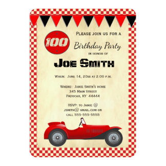 Vintage red race car flag card - 100th Birthday