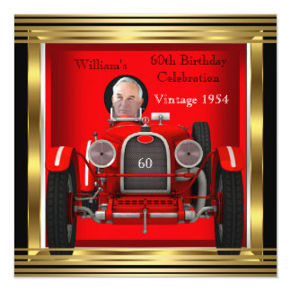 "Vintage Red Racing Car Mans 60th Birthday Photo 2 5.25"" Square Invitation Card"
