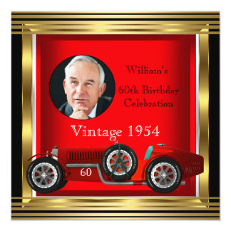 "Vintage Red Racing Car Mans 60th Birthday Photo 5.25"" Square Invitation Card"