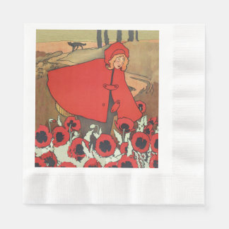Vintage Red Riding Hood Wolf Poppy Flowers Paper Napkins