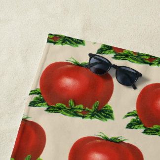 Vintage Red Ripe Tomato, Vegetables and Fruits Beach Towel