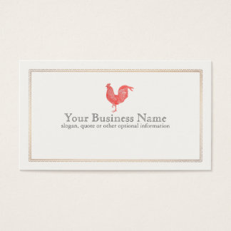 Vintage Red Rooster Etching Business Card