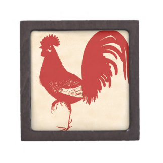 vintage-red-rooster--ON ALL ITEMS Premium Trinket Box