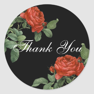 Vintage Red Rose Botanical Thank You Classic Round Sticker