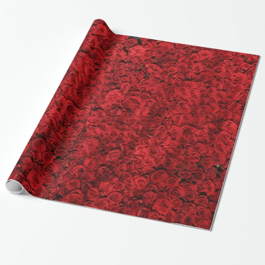 Vintage Red Rose Floral Gift Wrap