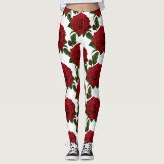 Vintage Red Rose Flower Print Leggings
