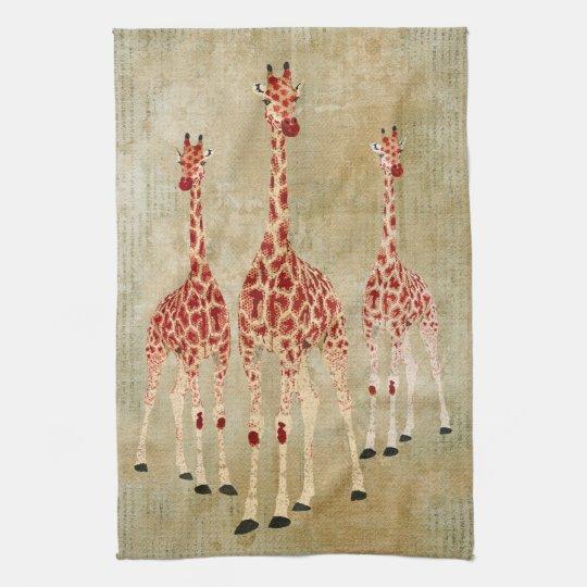 Vintage Red Rose Giraffes Towel
