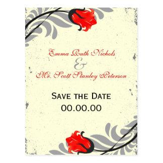 Vintage Red Rose Grunge Save The Date Postcard