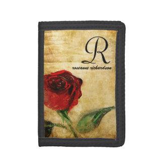 Vintage Red Rose Monogram Ladies Wallet