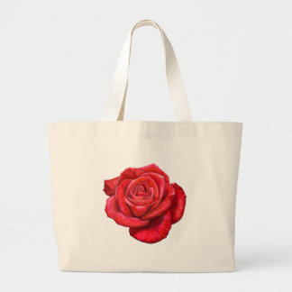 Vintage Red Rose Painted Illustration Canvas Bags