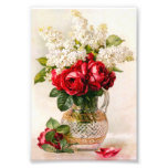 Vintage Red Roses and Baby's Breath Art Photo