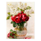 Vintage Red Roses and Baby's Breath Postcard