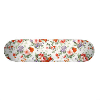 Vintage Red Roses and Flowers Skateboard Deck