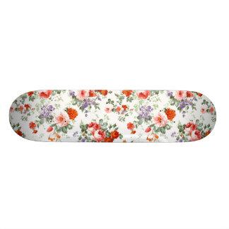 Vintage Red Roses and Flowers Skateboard Deck