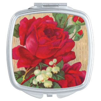 Vintage Red roses compact mirror