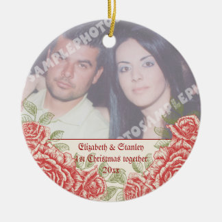 Vintage Red roses Couple's first Christmas photo Ceramic Ornament