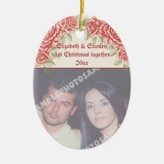 Vintage Red roses Couple's first Christmas photo Ceramic Oval Ornament