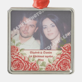 Vintage Red roses Couple's first Christmas photo Silver-Colored Square Ornament