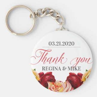 Vintage Red Roses Floral and Flower Thank You Keychain