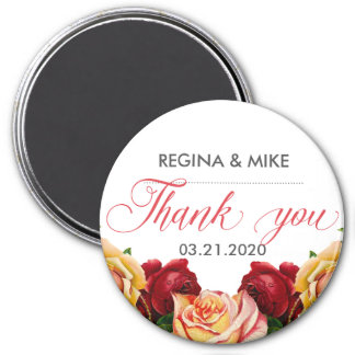Vintage Red Roses Floral and Flower Thank You Magnet