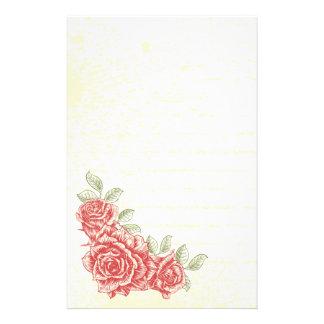 Vintage red roses floral custom stationery