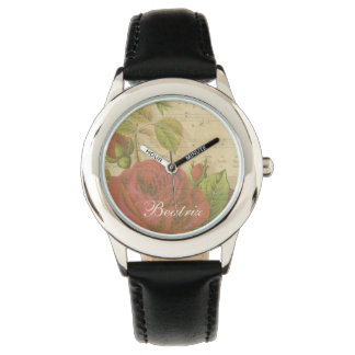 Vintage Red Roses Floral Music Sheet Custom Name Wristwatches