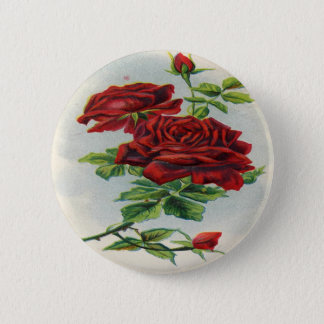 Vintage, Red Roses, Girlfriend Birthday 2 Inch Round Button