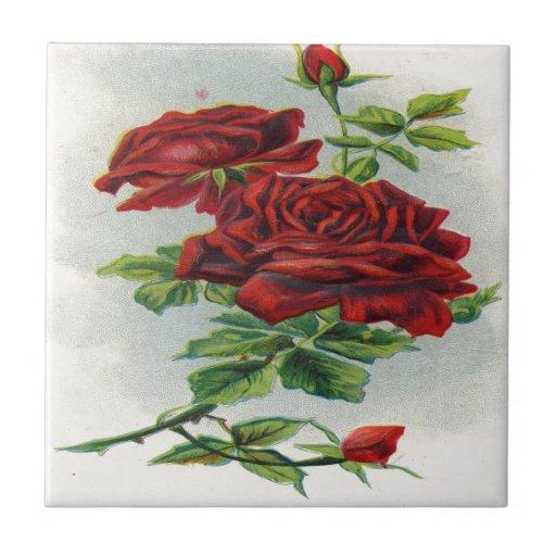Vintage, Red Roses, Girlfriend Birthday Ceramic Tiles