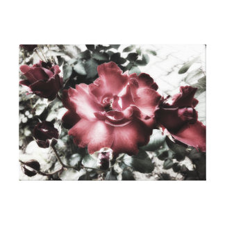 Vintage Red Roses In The Park Canvas Print