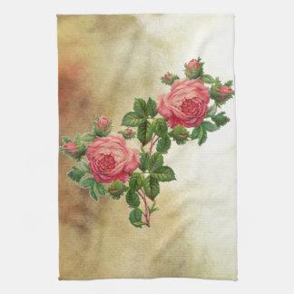 vintage red roses kitchen towel