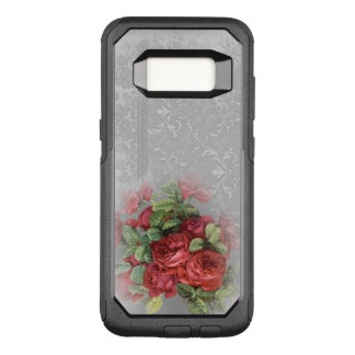 Vintage Red Roses on Grey Damask Otter Box OtterBox Commuter Samsung Galaxy S8 Case