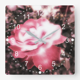 Vintage Red Roses Square Wall Clock