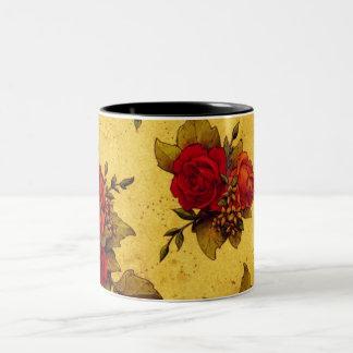 Vintage Red Roses Two-Tone Coffee Mug