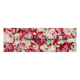 vintage red roses,victorian,floral,romantic,girly, pack of skinny business cards