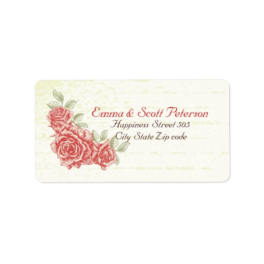 Vintage Red Roses Wedding Return Address Label